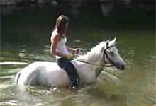 Girl and Horse in the River
