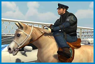 Police Horse Chase Crime Town