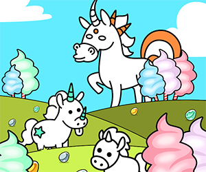 Unicorn Evolution - Fairy Tale Horse Game is a very good and well-designed game for kids. The aim of the game is to evolve unicorns, simply by combining two unicorns and thus you can find out the most exotic and majestic forms. Your job is to drag and drop a unicorn to another similar unicorn and that way you will create a new majestic creature.