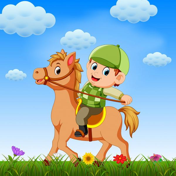 Cartoon Boy Riding his Horse