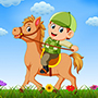 Cartoon Boy Riding his Horse - Free Horse Vector