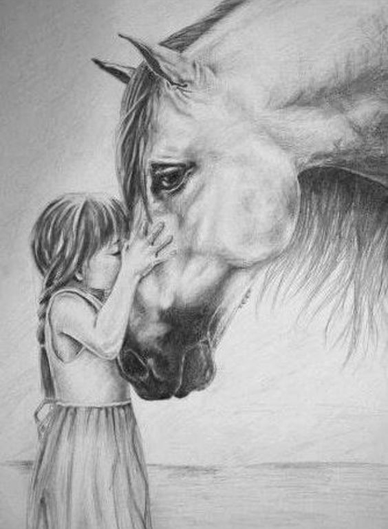 drawing games for little girls Cute Little Girl Kissing A Horse Epic Horse Drawing Picture