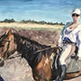 Girl Riding Horse - Amazing acrylic Painting