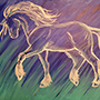 Horse in the Northern Lights - Color Painting Image