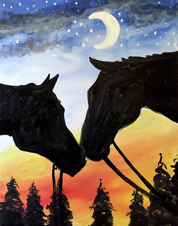 Night Horse Nuzzling