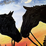 Night Horse Nuzzling - Beautiful Acrylic painting
