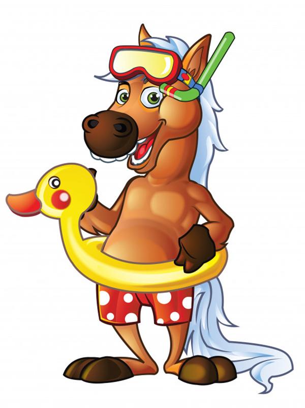 Pony Swimmer Cartoon Mascot
