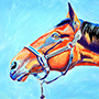Red Reach Horse - Acrylic Painting of Horse