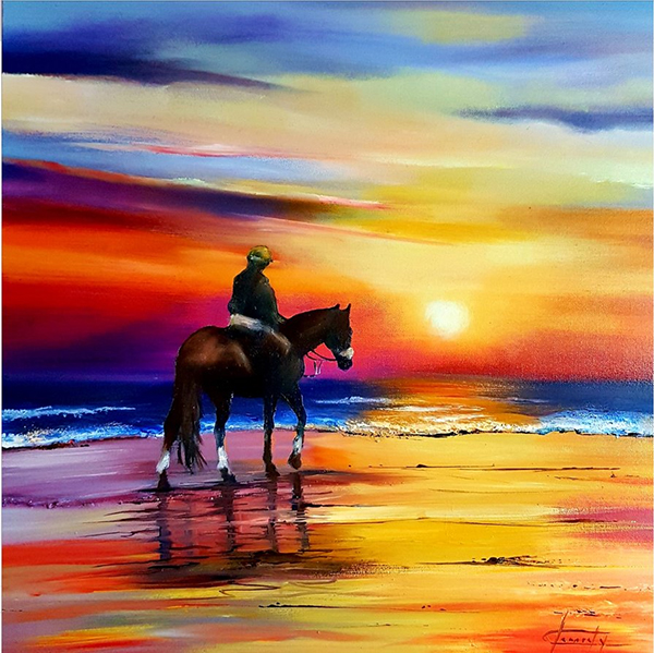 Riding Horse on the Beach